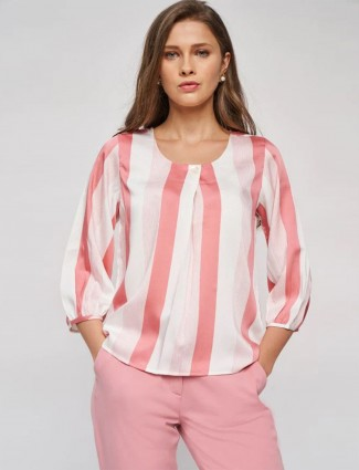 AND pink striped casual poly cotton top