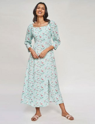 AND Powder Blue Floral Printed Fit And Flare Gown