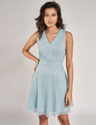 AND Powder Blue Solid Fit And Flare Dress