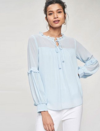 AND Powder Blue Solid Gathers Or Pleats A-Line Top
