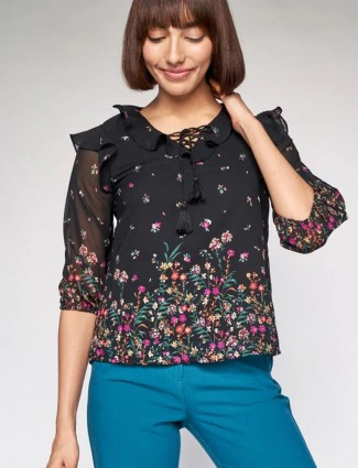 AND printed georgette casual top in black tint