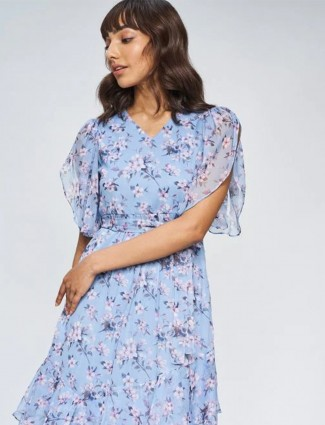 AND printed lavender blue georgette dress for women
