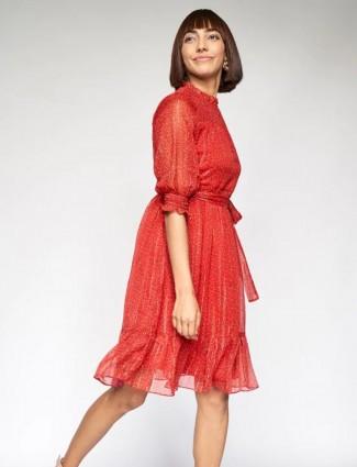 AND printed orange georgette casual dress