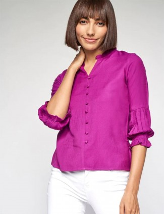AND purple cotton fabric casual top for women