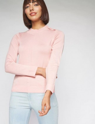 AND simple solid baby pink tint knitted top