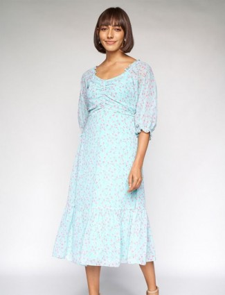 AND sky blue printed georgette casual dress