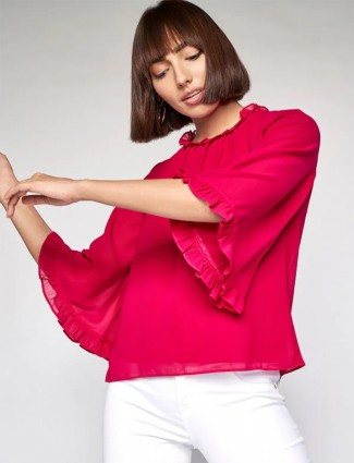 AND solid georgette top in magenta hue