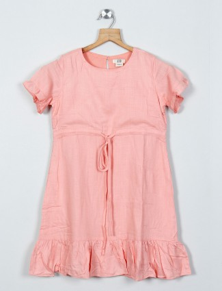 AND solid peach cotton casual dress