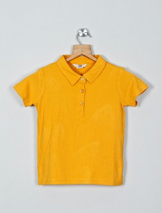 AND solid yellow cap sleeves top