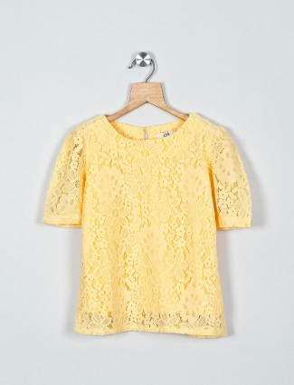 AND solid yellow casual cotton top