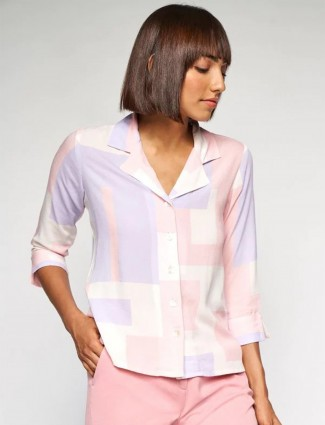 AND stylish off white colour cotton casual top