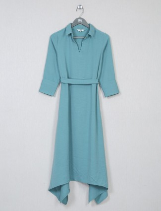 AND teal green poly cotton casual wear dress