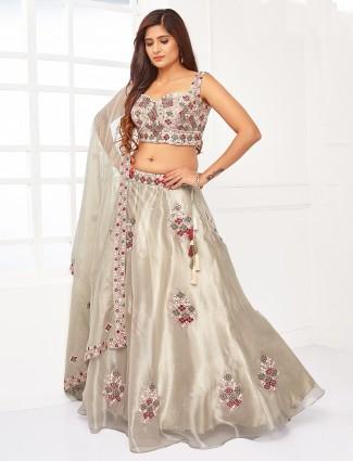 Appealing grey tissue silk wedding wear lehenga choli