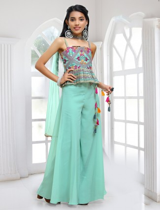 Aqua aabla decorated palazzo suit in georgette