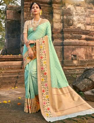 Aqua blue banarasi silk saree for wedding