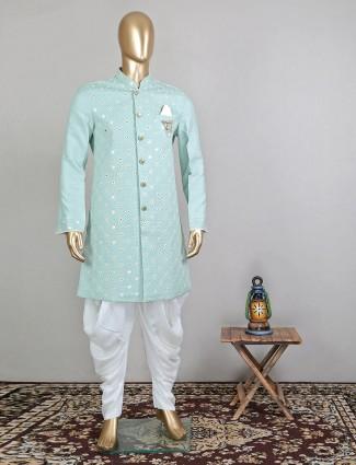 Aqua blue designer indowestern sherwani for mens