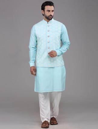 Aqua chanderi cotton waistcoat set