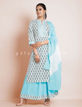 Aqua color cotton punjabi style festive wear palazzo suit
