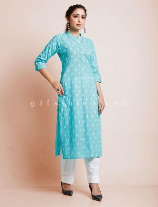 Aqua cotton chinese neck punjabi pant suit