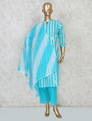 Aqua cotton festive wear stripe pant suit