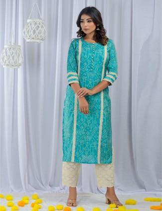 Aqua cotton punjabi style printed festive occasions pant suit