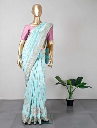 Aqua cotton silk womens saree for festive