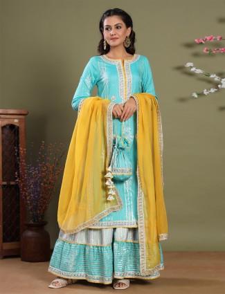 Aqua designer cotton festive events punjabi sharara set