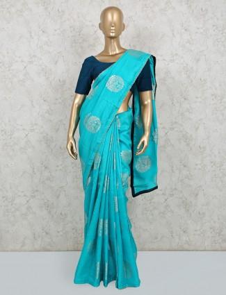 Aqua dola silk saree in matching color pallu