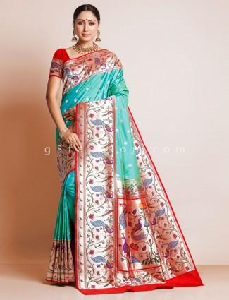 Aqua green colored banarasi paithni silk saree