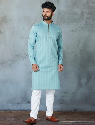 Aqua hue fesitve wear kurta with churidar
