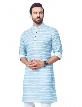 Aqua hue stripe style kurta in cotton