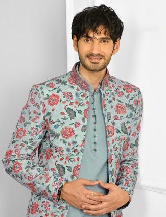 Aqua hue wedding wear indowestern suit for mens in cotton silk