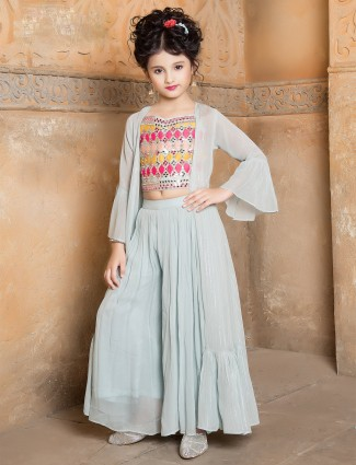 Aqua palazzo suit for girls with jacket