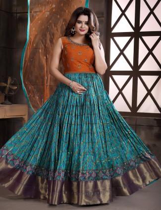 Rama blue patola silk wedding wear floor length anarkali suit