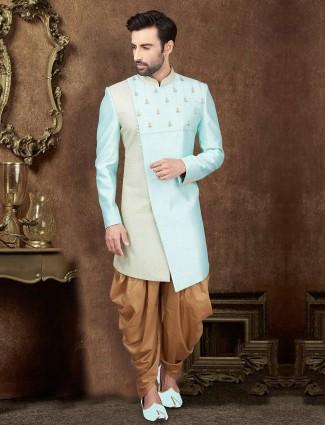 Aqua raw silk party wear indo western