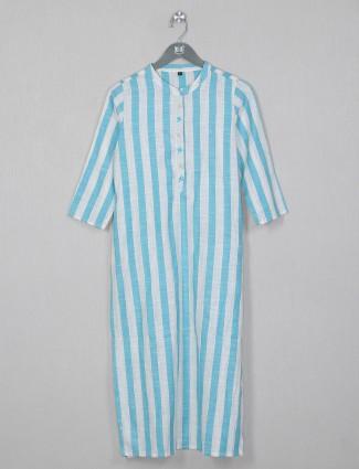 Aqua shade stripe style cotton kurti for women