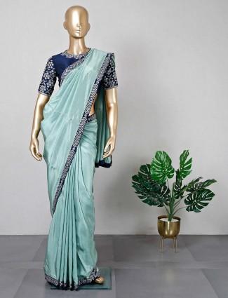 Aqua silk festive wear saree