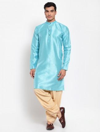 Aqua solid style cotton silk patiala with kurta