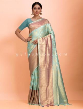 Art kanjivaram silk aqua beautiful saree