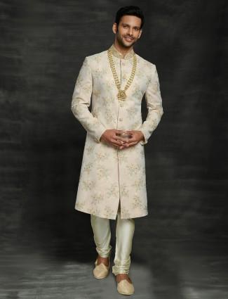 Asthetic beige silk classic sherwani