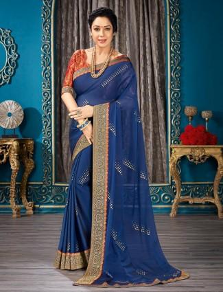 Asthetic blue festive wear chiffon saree