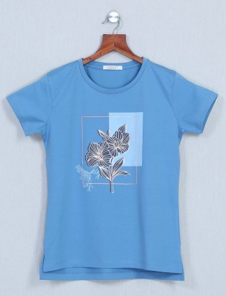 Astron blue casual top for women in cotton