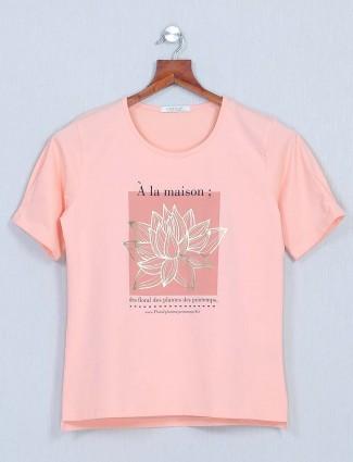 Astron peach cotton casual top for women