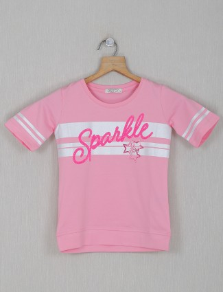 Astron pink printed casual cotton top