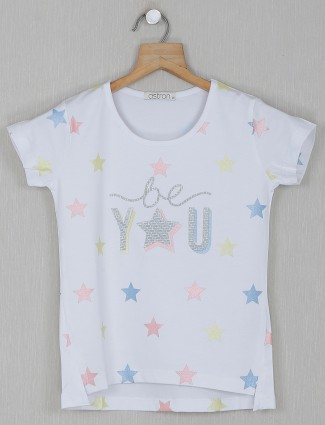 Astron white printed cotton casual top