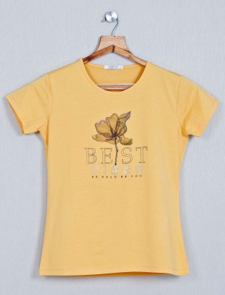 Astron yellow latest cotton top for women