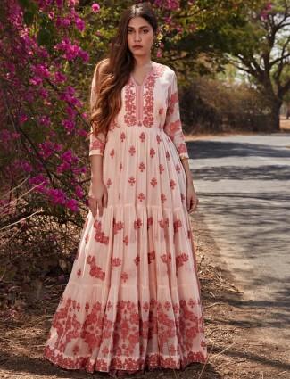 Attirable baby pink cotton anarkali style salwar suit
