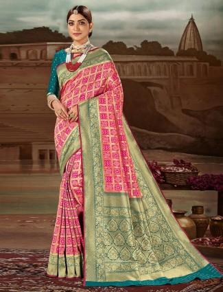 Attirable magenta banarasi silk wedding saree