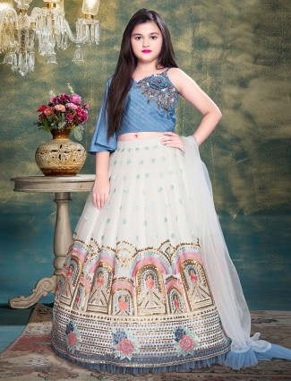 Attractive blue and white lehenga set for little girls