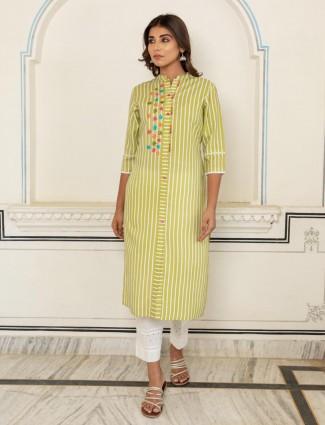 Attractive green cotton casual occasions stripe kurti